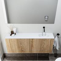 zaro Polly toiletmeubel 120cm eiken met witte wastafel zonder kraangat rechts