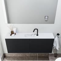 zaro Polly toiletmeubel 120cm mat zwart met witte wastafel met kraangat
