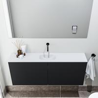 zaro Polly toiletmeubel 120cm mat zwart met witte wastafel zonder kraangat