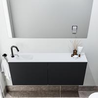 zaro Polly toiletmeubel 120cm mat zwart met witte wastafel met kraangat links
