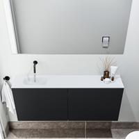zaro Polly toiletmeubel 120cm mat zwart met witte wastafel zonder kraangat links