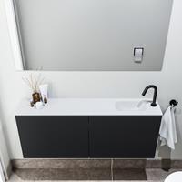 zaro Polly toiletmeubel 120cm mat zwart met witte wastafel met kraangat rechts