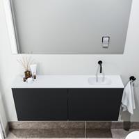 zaro Polly toiletmeubel 120cm mat zwart met witte wastafel zonder kraangat rechts
