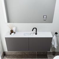 zaro Polly toiletmeubel 120cm donkergrijs met witte wastafel met kraangat