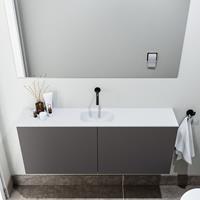 zaro Polly toiletmeubel 120cm donkergrijs met witte wastafel zonder kraangat