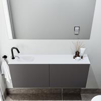 zaro Polly toiletmeubel 120cm donkergrijs met witte wastafel met kraangat links
