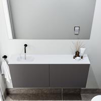 zaro Polly toiletmeubel 120cm donkergrijs met witte wastafel zonder kraangat links