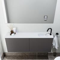 zaro Polly toiletmeubel 120cm donkergrijs met witte wastafel met kraangat rechts
