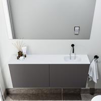 zaro Polly toiletmeubel 120cm donkergrijs met witte wastafel zonder kraangat rechts