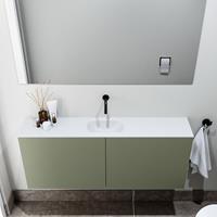 zaro Polly toiletmeubel 120cm army met witte wastafel zonder kraangat