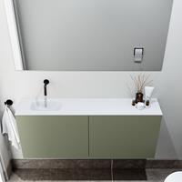 zaro Polly toiletmeubel 120cm army met witte wastafel zonder kraangat links