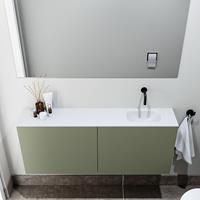 zaro Polly toiletmeubel 120cm army met witte wastafel zonder kraangat rechts