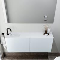 zaro Polly toiletmeubel 120cm clay met witte wastafel met kraangat links