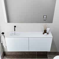 zaro Polly toiletmeubel 120cm clay met witte wastafel zonder kraangat links