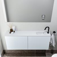 zaro Polly toiletmeubel 120cm clay met witte wastafel met kraangat rechts
