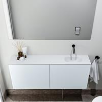 zaro Polly toiletmeubel 120cm clay met witte wastafel zonder kraangat rechts