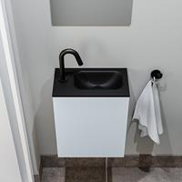 zaro Polly toiletmeubel 40cm clay met zwarte wastafel met kraangat rechts