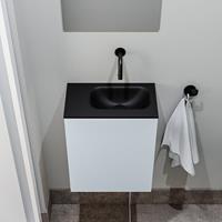 zaro Polly toiletmeubel 40cm clay met zwarte wastafel zonder kraangat rechts