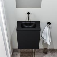 zaro Polly toiletmeubel 40cm mat zwart met zwarte wastafel zonder kraangat
