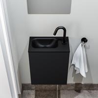 zaro Polly toiletmeubel 40cm mat zwart met zwarte wastafel met kraangat links