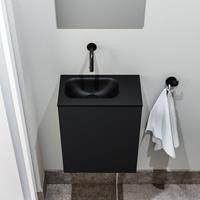 zaro Polly toiletmeubel 40cm mat zwart met zwarte wastafel zonder kraangat links