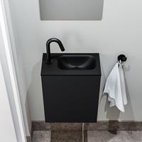 zaro Polly toiletmeubel 40cm mat zwart met zwarte wastafel met kraangat rechts