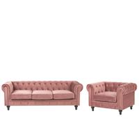 Beliani Bankenset fluweel roze CHESTERFIELD