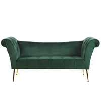 Beliani Chaise longue fluweel donkergroen NANTILLY