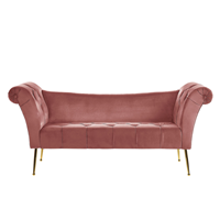Beliani Chaise longue fluweel roze NANTILLY
