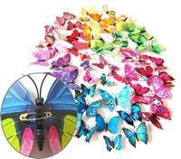 2 set creatieve 3D kleur vlinder muurstickers woonkamer slaapkamer decoratie benodigdheden, pin stijl, willekeurige kleur levering