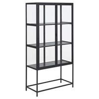 Leen Bakker Vitrine Adino - metaal - zwart - 150x77x35 cm