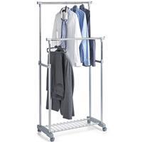 Zeller Mobiel kledingrek verstelbare dubbele stang 107 cm - Kledingrekken
