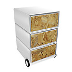paperflow easybox mobiele ladenblok met 3 lades 642x390x436mm  wood shavings
