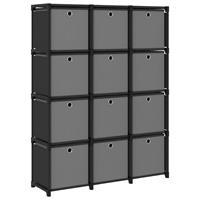 vidaXL Kast met 12 vakken met boxen 103x30x141 cm stof zwart