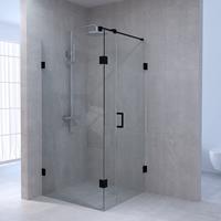 sanituba Complete Profielloze Douchecabine Vierkant 3-delig 100x100 cm Zwart Mat