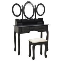 vidaXL Kaptafel met krukje en drievoudige spiegel zwart