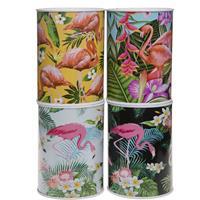 Metalen witte spaarpot flamingos 7.5 x 10 cm -