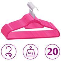 vidaXL 20-delige Kledinghangerset anti-slip fluweel roze