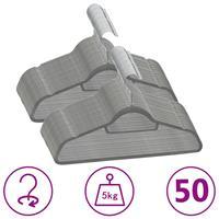 vidaXL 50-delige Kledinghangerset anti-slip fluweel grijs