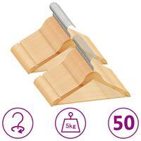 vidaXL 50-delige Kledinghangerset anti-slip hardhout