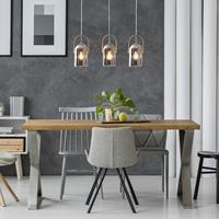 Naeve Leuchten Hanglamp Vitrio met glazen kappen, 3-lamps