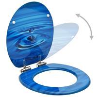 vidaXL Toiletbril met soft-close deksel waterdruppel MDF blauw
