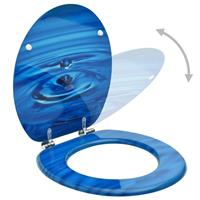 vidaXL Toiletbrillen met deksel 2 st waterdruppel MDF blauw