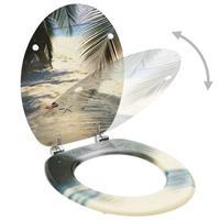 vidaXL Toiletbrillen met deksel 2 st strand MDF