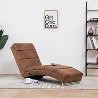 vidaXL Massage chaise longue kunstsuède bruin