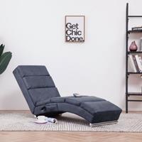 vidaXL Massage chaise longue kunstsuède grijs