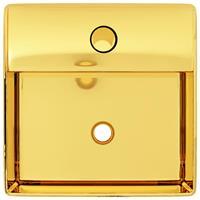 vidaXL Wastafel met kraangat 38x30x11,5 cm keramiek goudkleurig