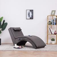 vidaXL Massage chaise longue met kussen kunstleer grijs