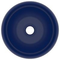 vidaXL Wastafel rond 40x15 cm keramiek mat donkerblauw