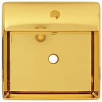 vidaXL Wastafel met overloop 41x41x15 cm keramiek goudkleurig